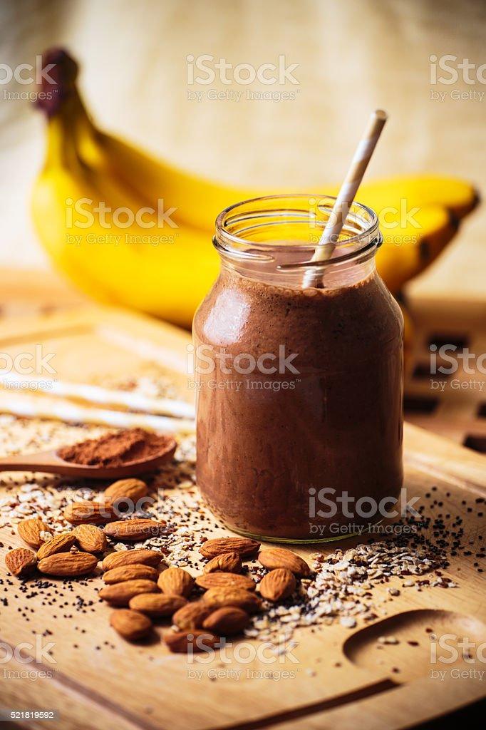 Banana cocoa smoothie stock photo