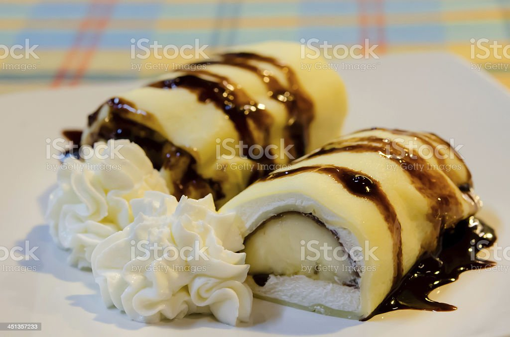 banana crepe rolls and cream royalty-free stock photo