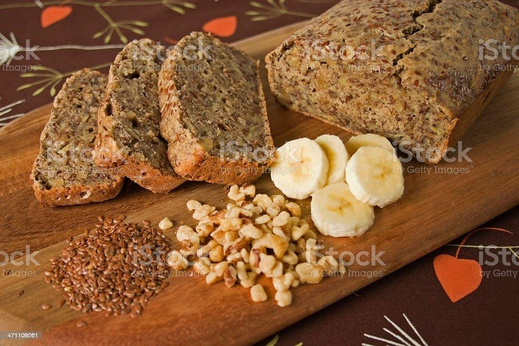 Banana, Flax, Walnut Bread stock photo