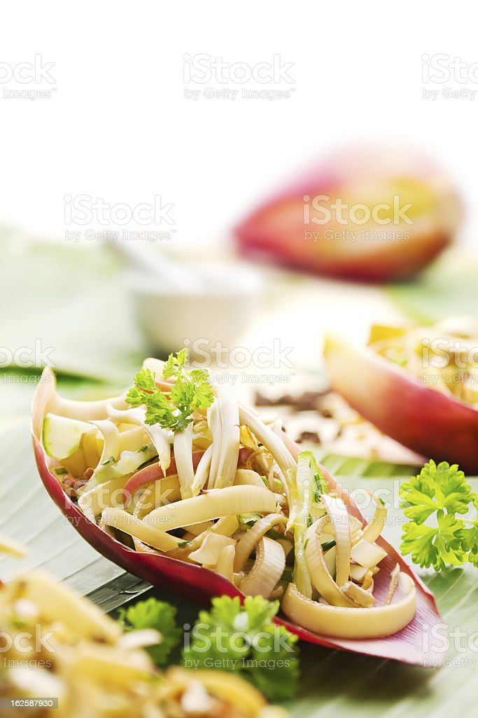Banana flower salad stock photo