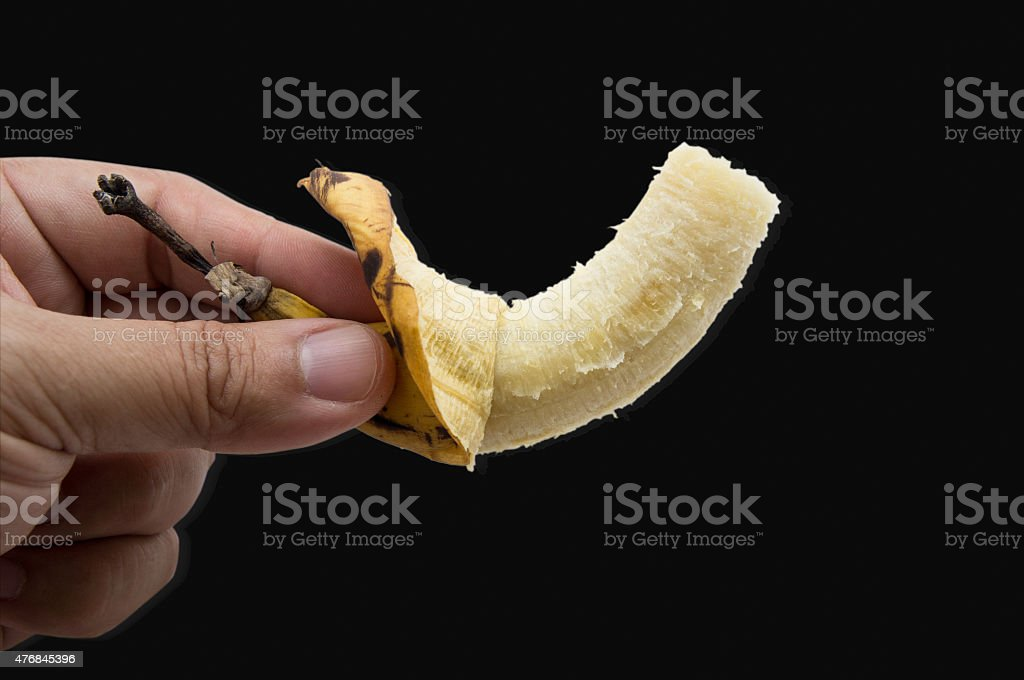 banana fruit eat bite fresh yellow peel concept stock photo