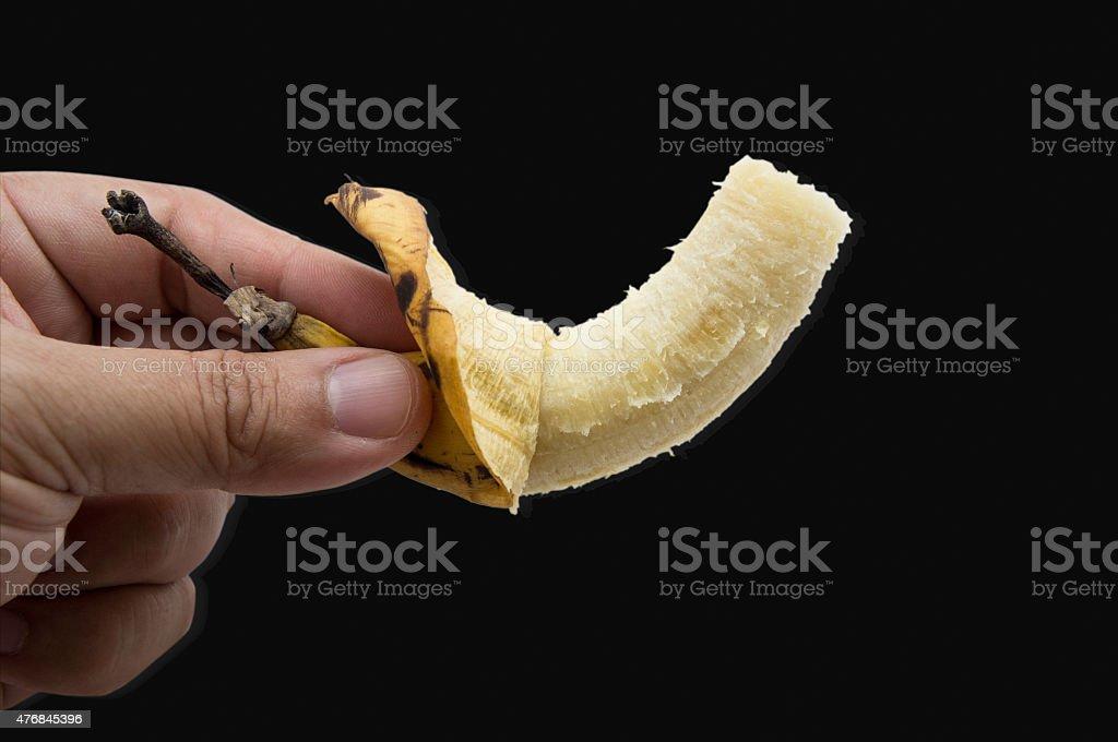 banana fruit eat bite fresh yellow peel concept stock photo