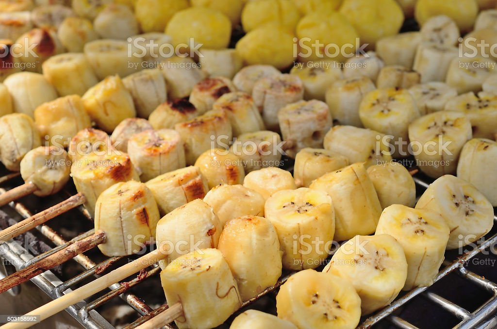 Banana grill and eat with coconut milk. stock photo