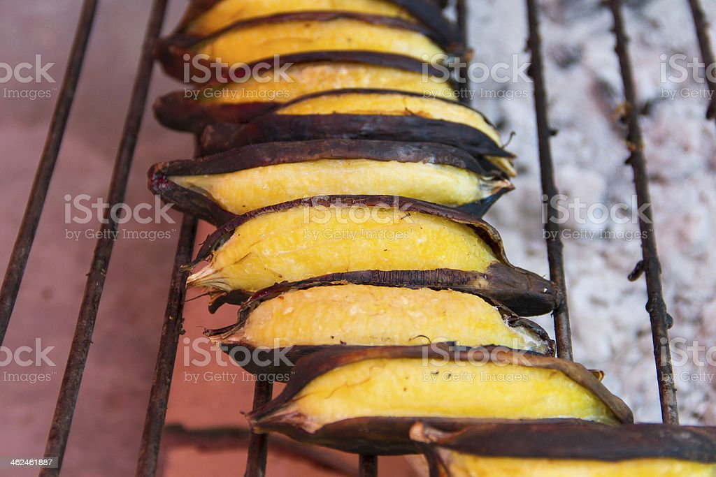 Banana grilled stock photo