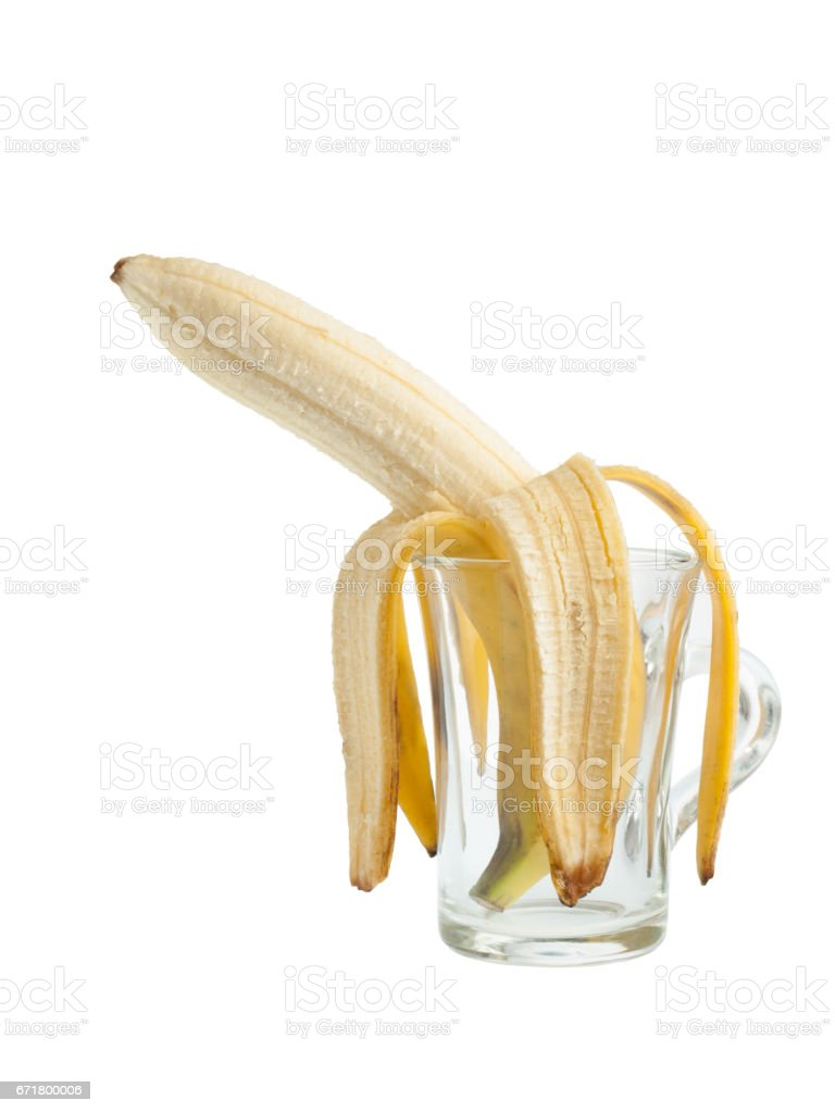 Banana in a glass stock photo