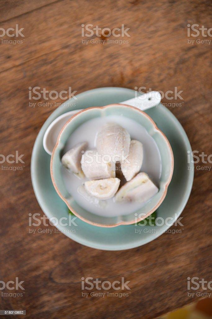 Banana in Coconut Milk. stock photo