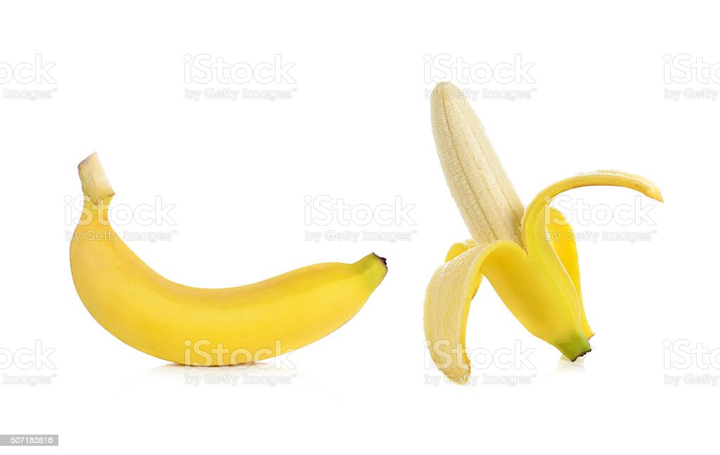 banana isolated on white background. stock photo