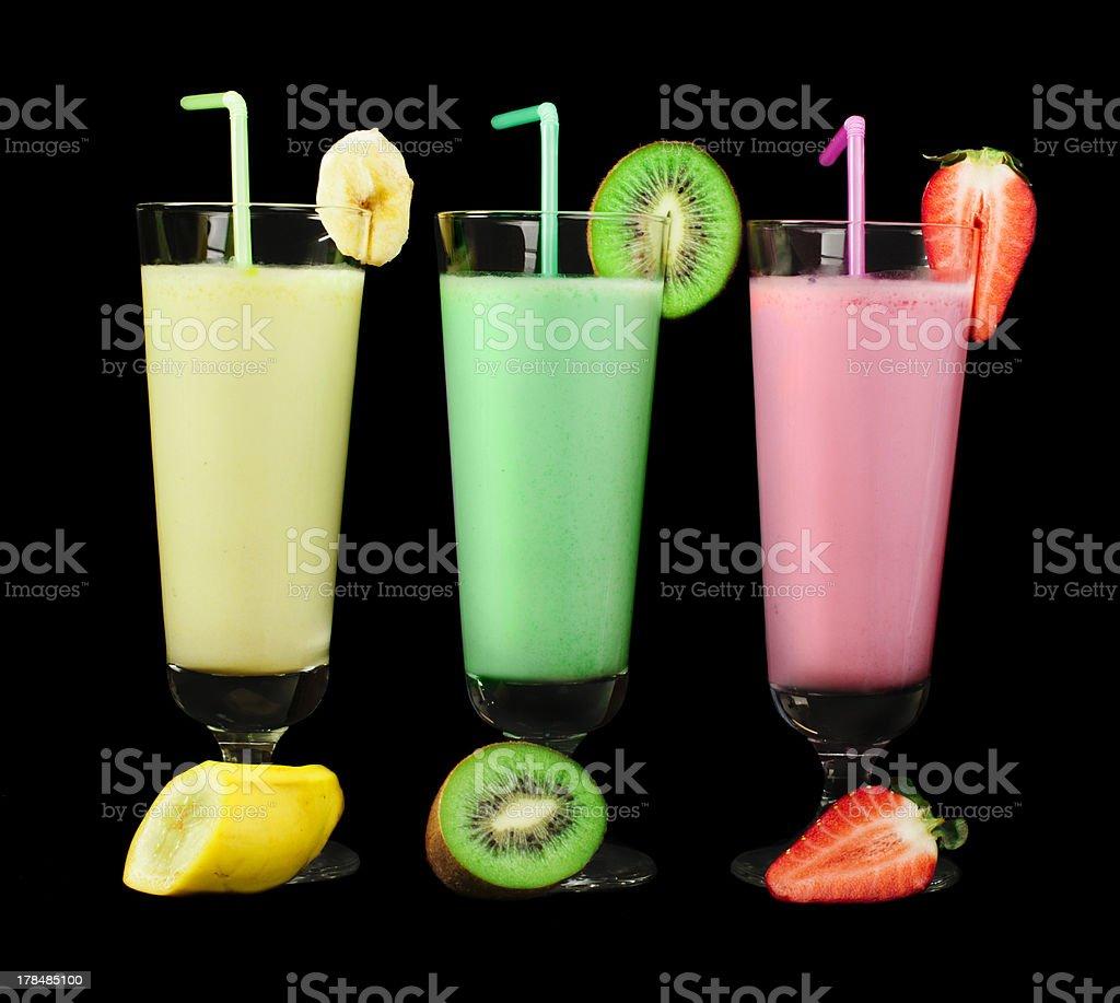 Banana, kiwi and strawberry milk shake, fresh fruits royalty-free stock photo