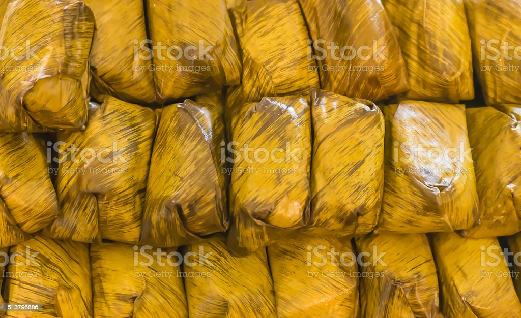banana leaf Wrap Boiled banana bunch stock photo