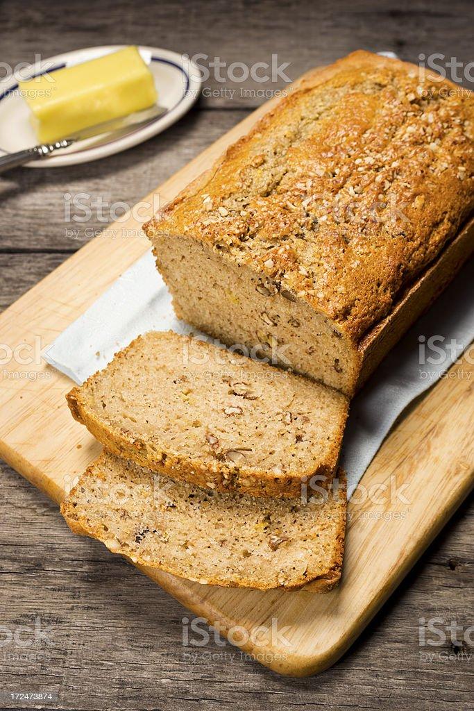 Banana Nut Bread Cut Into Slices royalty-free stock photo