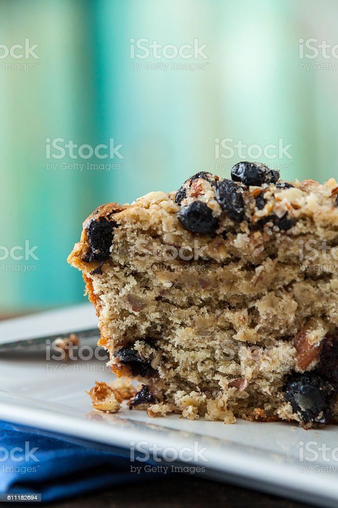 Banana Nut Muffin Close Up Served With Coffee For Breakfast stock photo