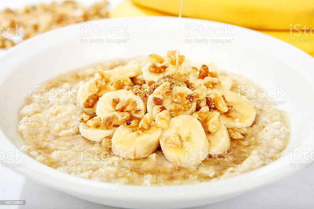 Banana Nut Oatmeal with Honey royalty-free stock photo