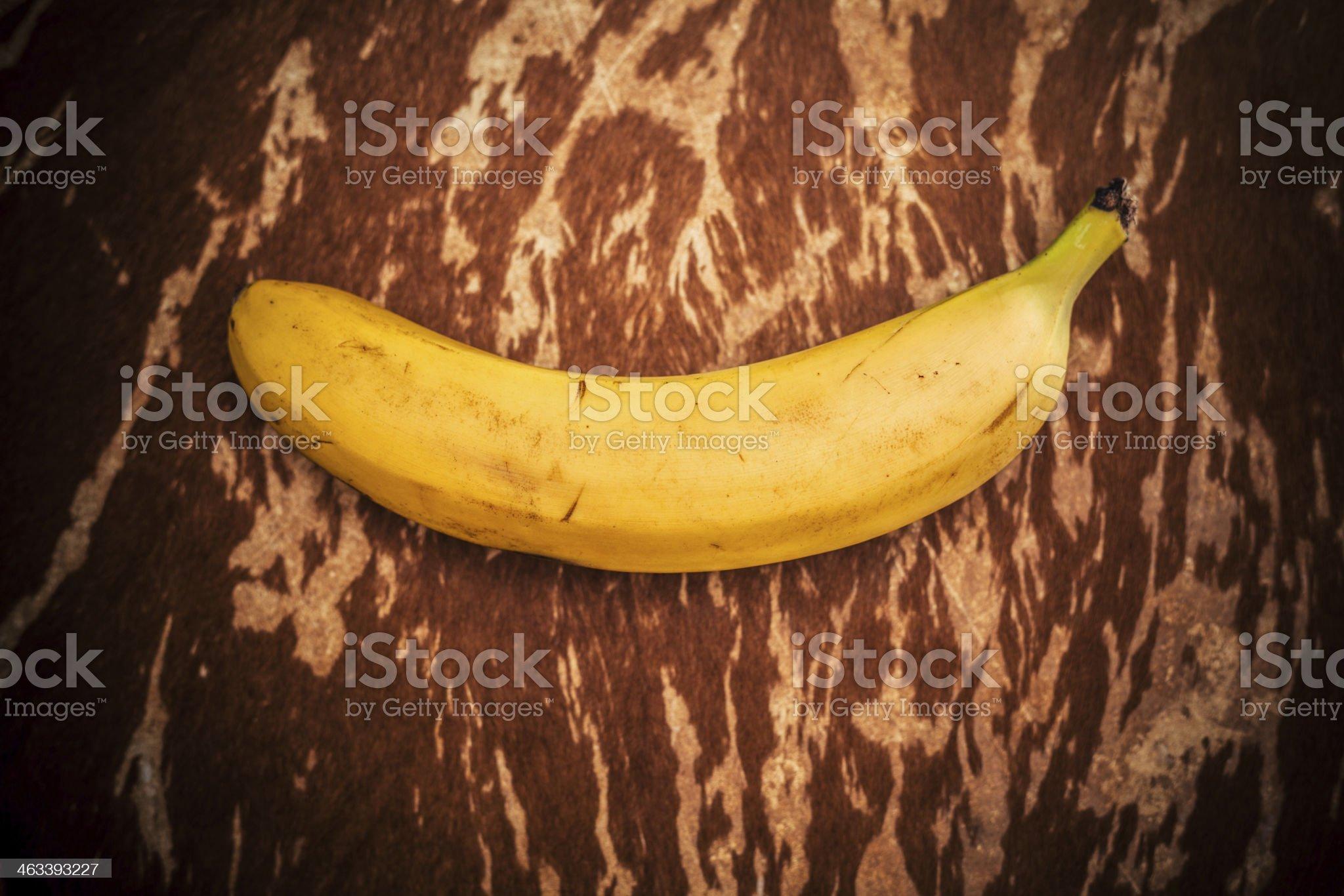 Banana on animal hide royalty-free stock photo