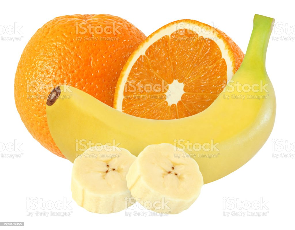 banana, orange fruits isolated on white background with clipping path stock photo