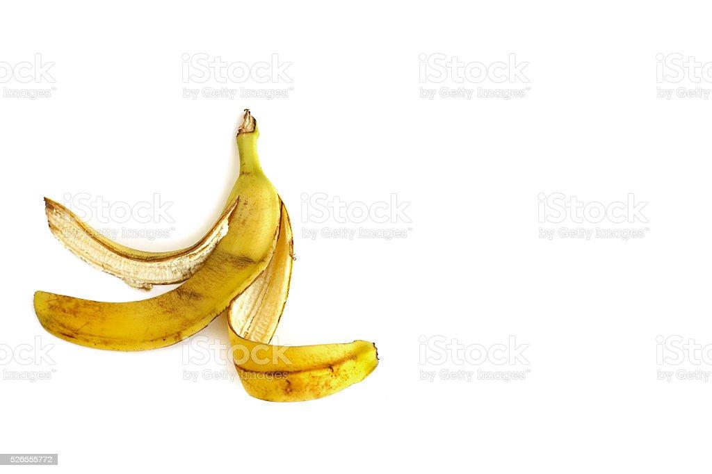 Banana peel on white background stock photo