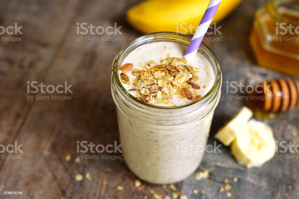 Banana smoothie with oat. stock photo