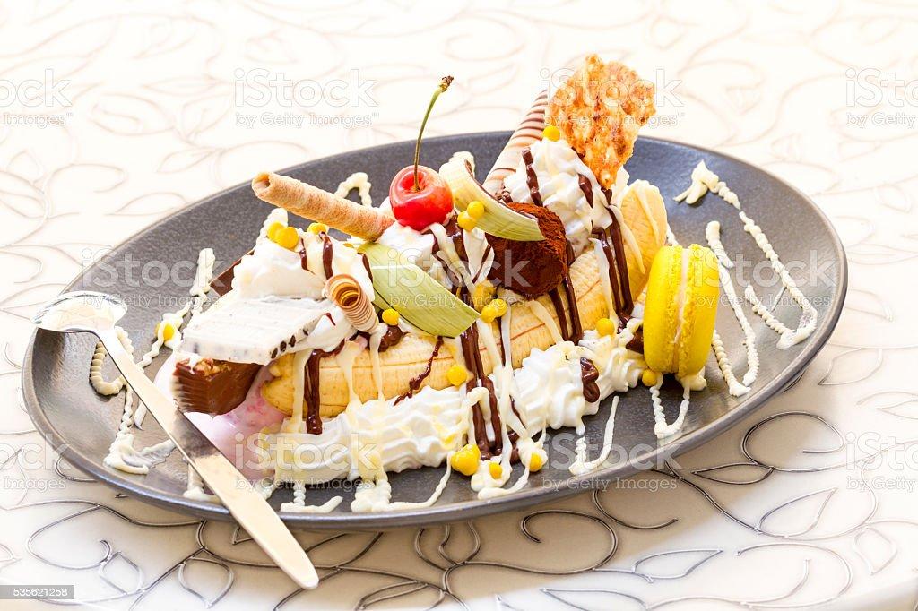 Banana split ice cream stock photo
