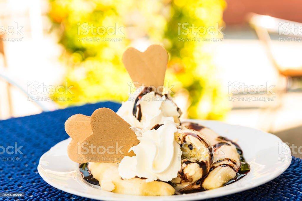 Banana splits stock photo