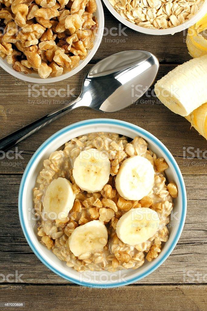 Banana walnut overnight oatmeal above view stock photo