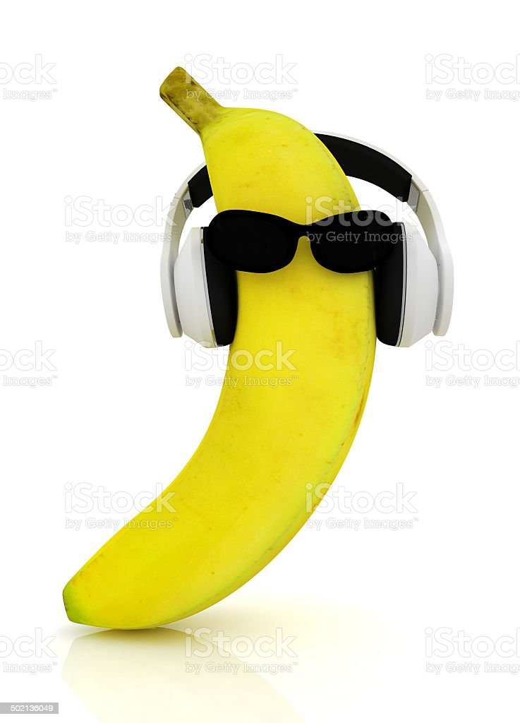 banana with sun glass and headphones front 'face' stock photo