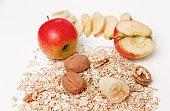 Banana,Apple,Walnuts,Rolled Oats,Healthy Fresh Organic Food