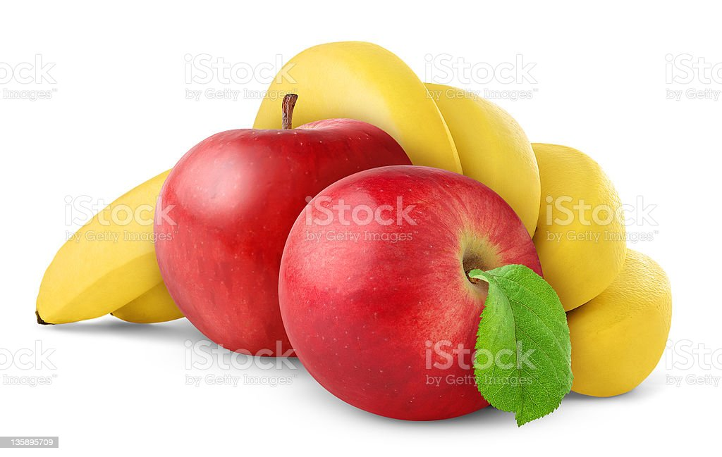 Bananas and apples stock photo