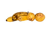 Bananas and pears. Ripe bananas and pears isolated on white