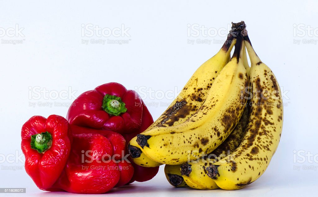 Bananas and Peppers Spoiling stock photo