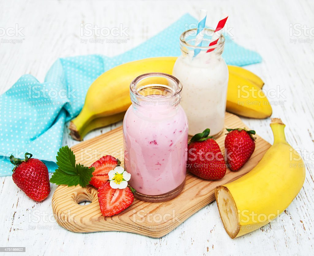 Bananas  and strawberries with yogurt stock photo