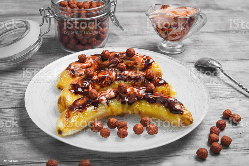Bananas baked grilled stock photo
