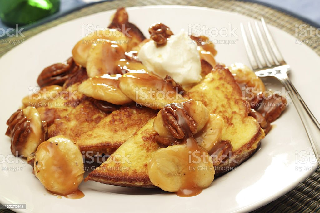 Bananas Foster French Toast stock photo