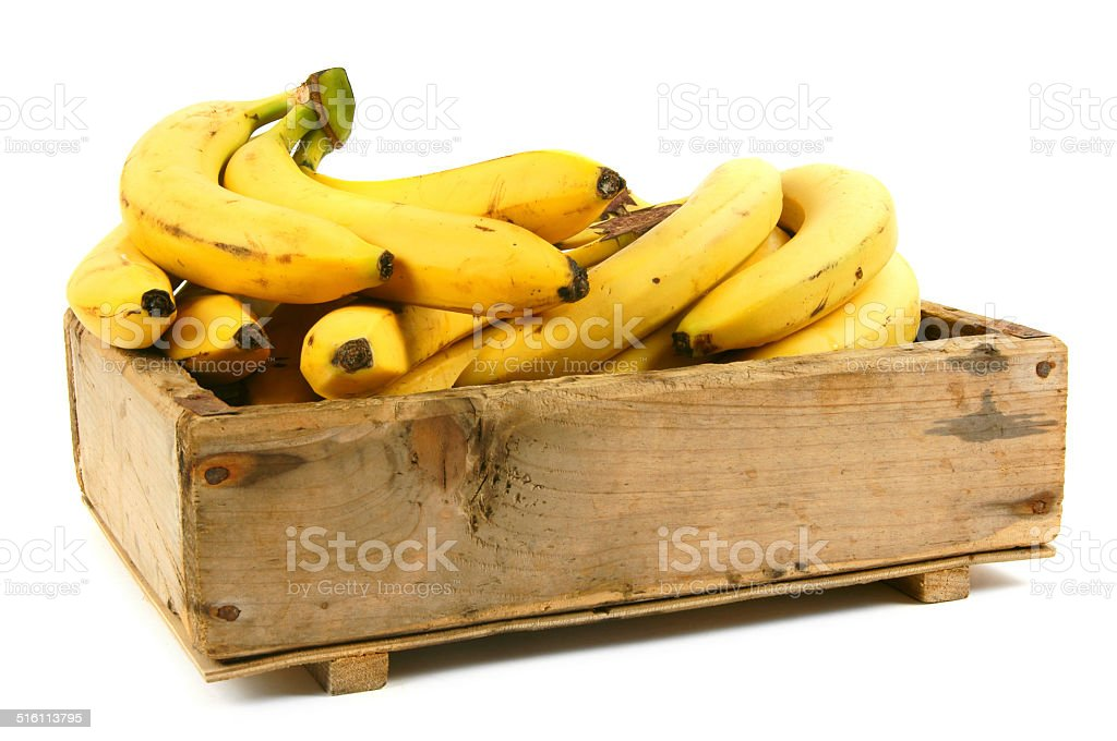 Bananas in an old box stock photo