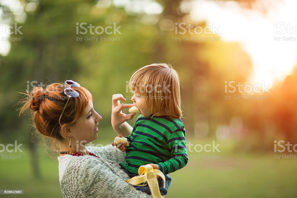 Bananas is the perfect food for toddlers stock photo