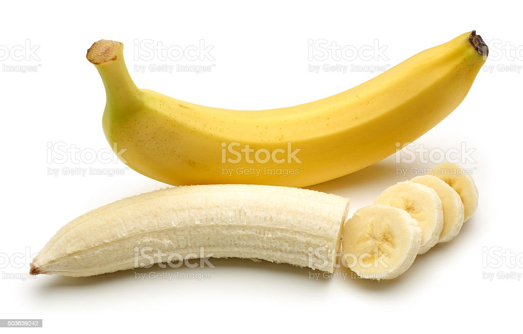 Bananas with Peeled Banana slices stock photo