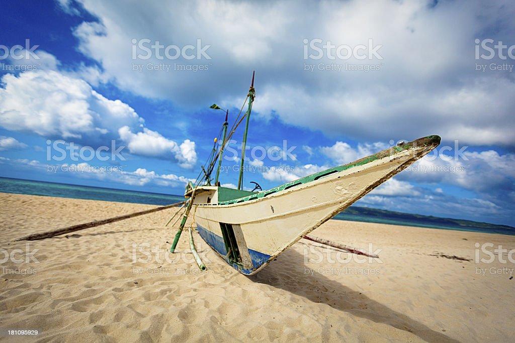 banca boat at boracay island philippines stock photo
