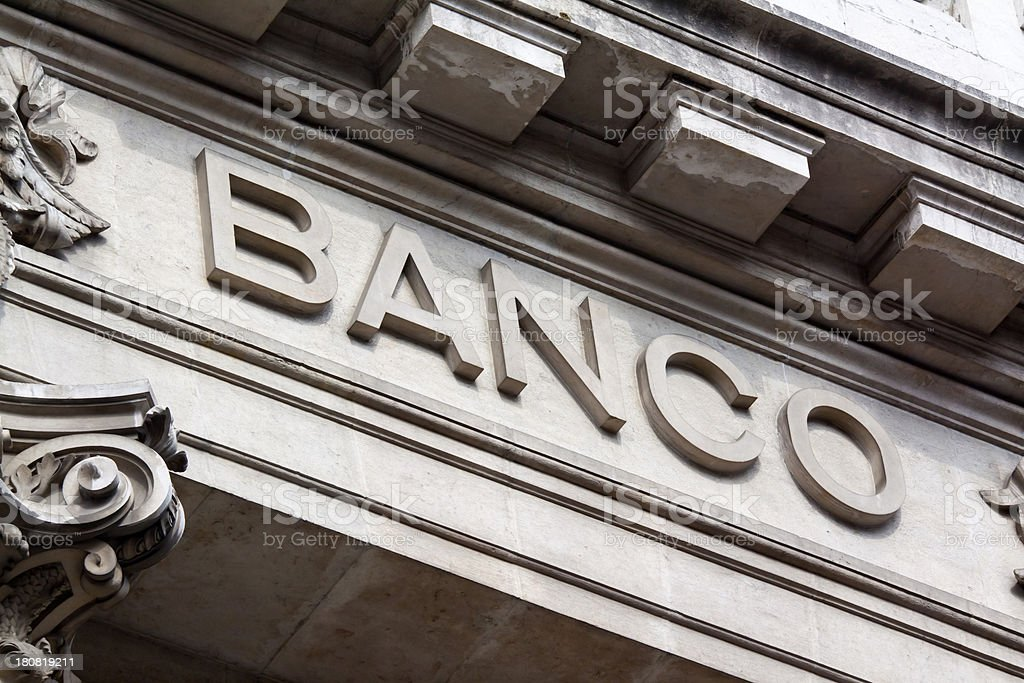 Banco Sign Spain stock photo