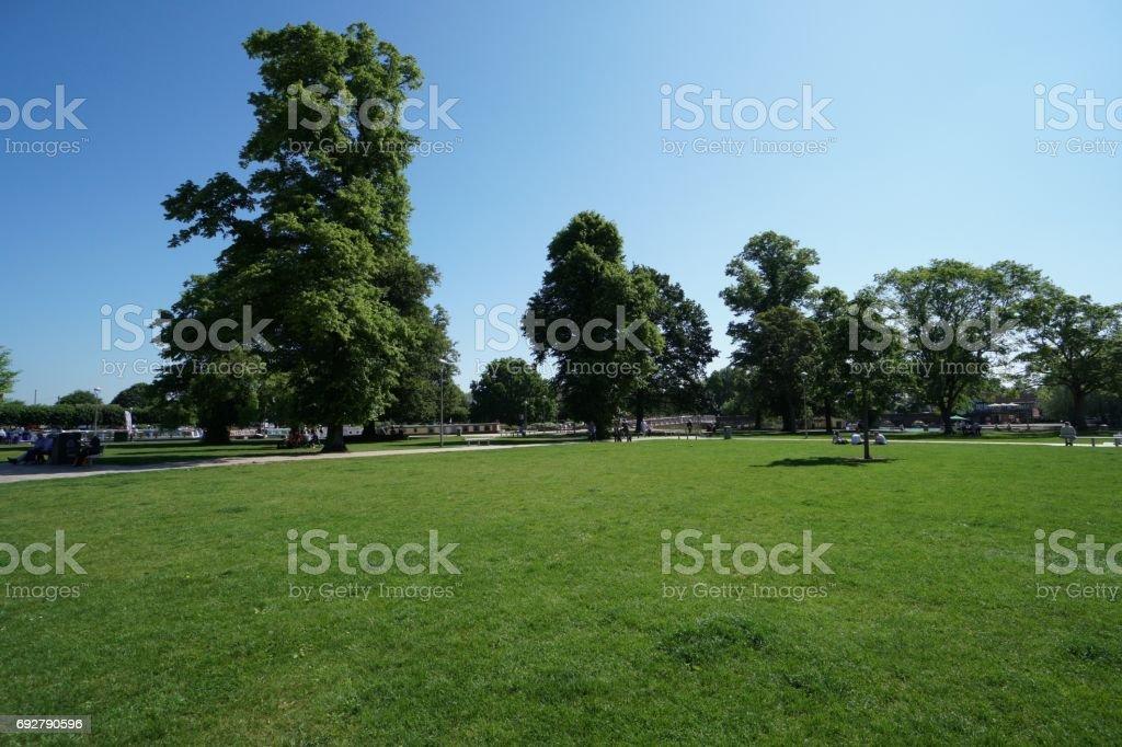 Bancroft gardens on River Avon stock photo
