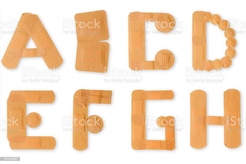 Band aid alphabet (clipping paths) royalty-free stock photo