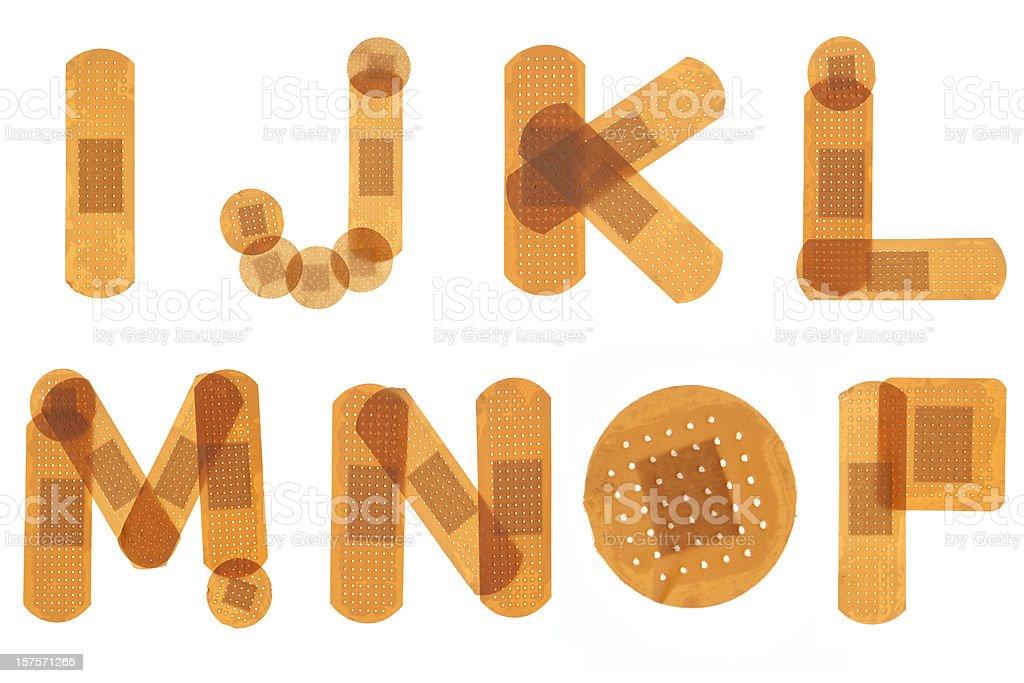Band aid font alphabet stock photo