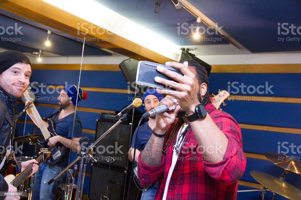 Band In A Studio, selfie stock photo