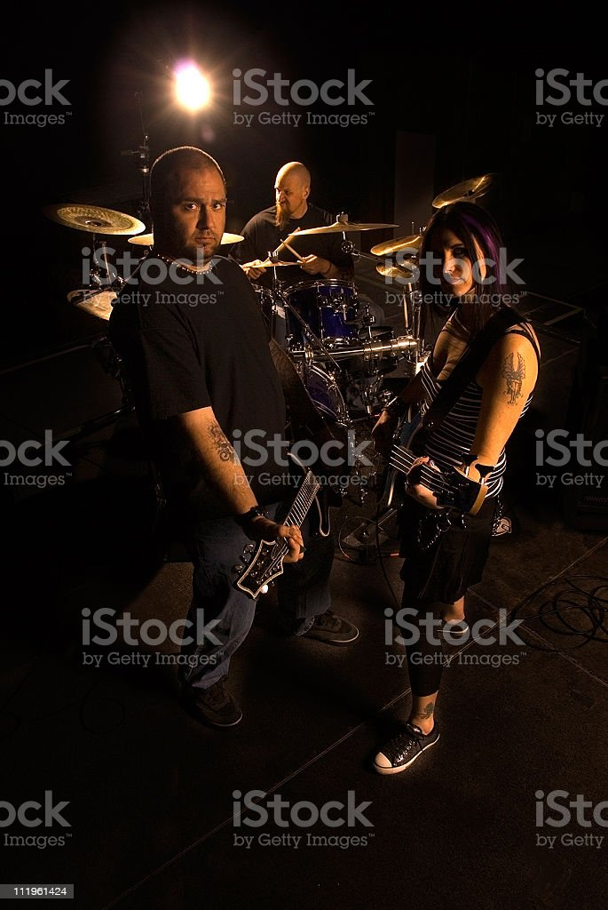 Band in live concert stock photo