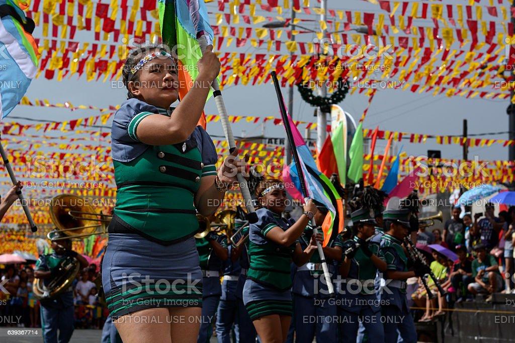 Band majorettes perform flag waving dancing skills stock photo