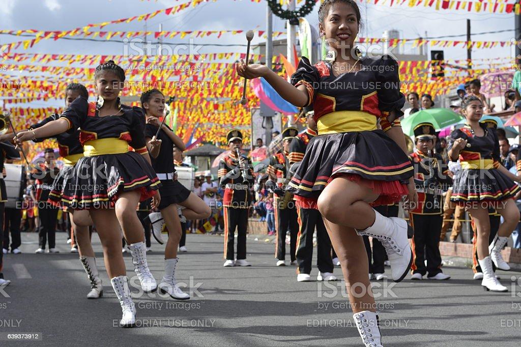 Band majorettes perform various dancing skills stock photo