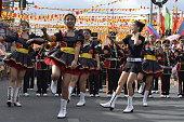 Band majorettes perform various dancing skills
