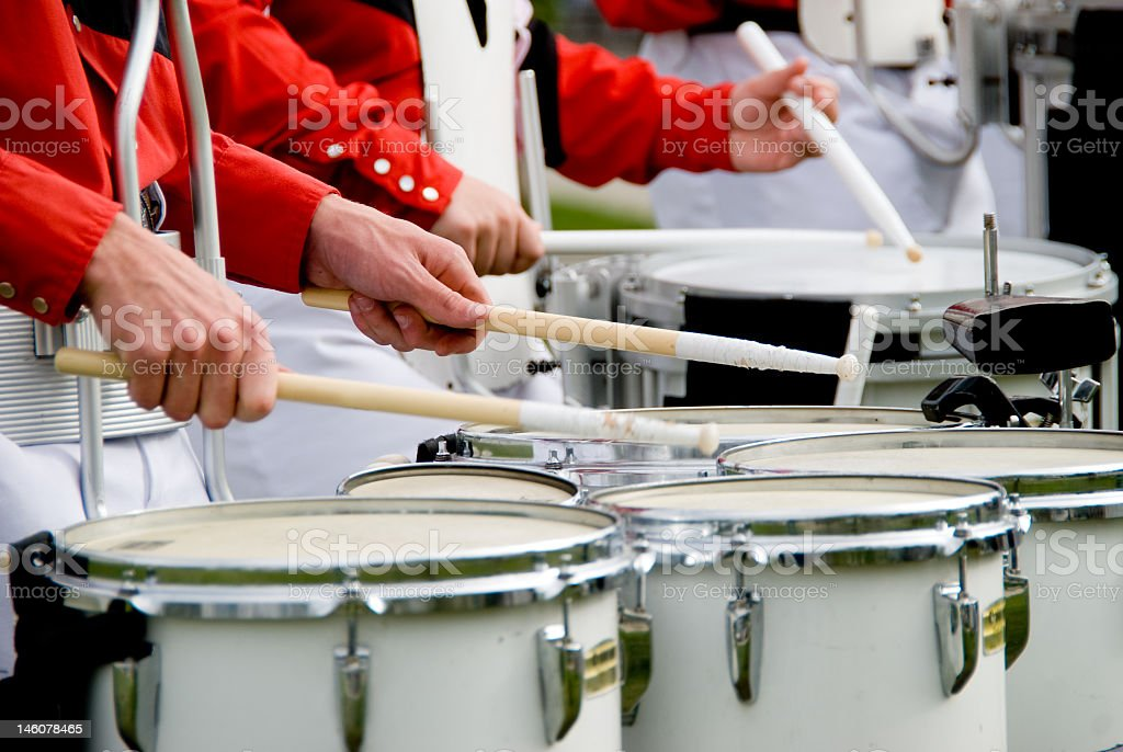 Band members playing marching band drums  stock photo