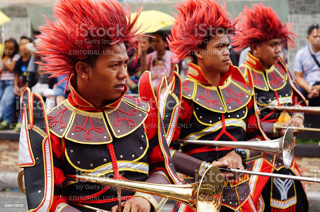 Band musicians play trumpet stock photo