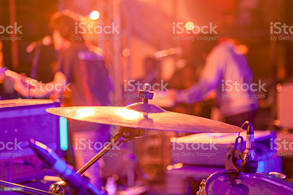 Band on stage at a live concert stock photo