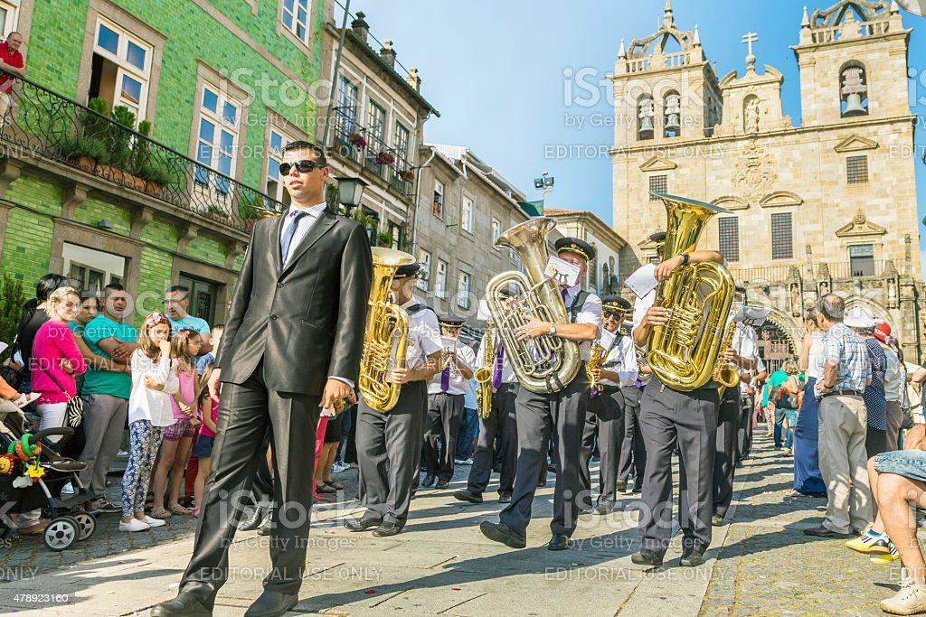 Band parade of 'São João' at Sé Cathedral in Braga. stock photo