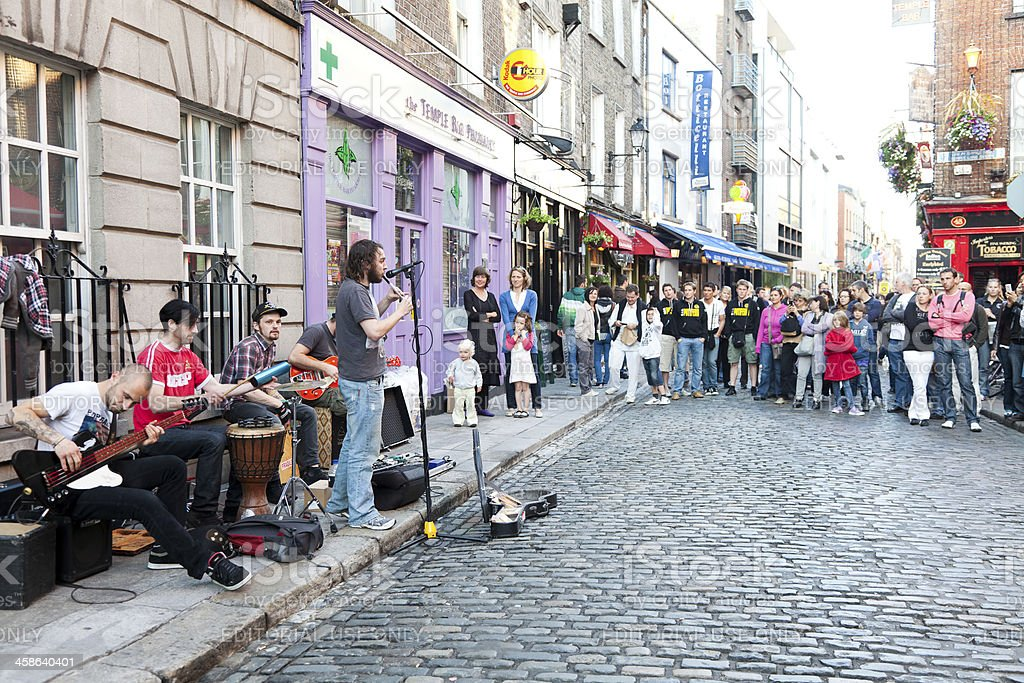 Band Performs To Street Crowd In Dublin's  Temple Bar Area royalty-free stock photo