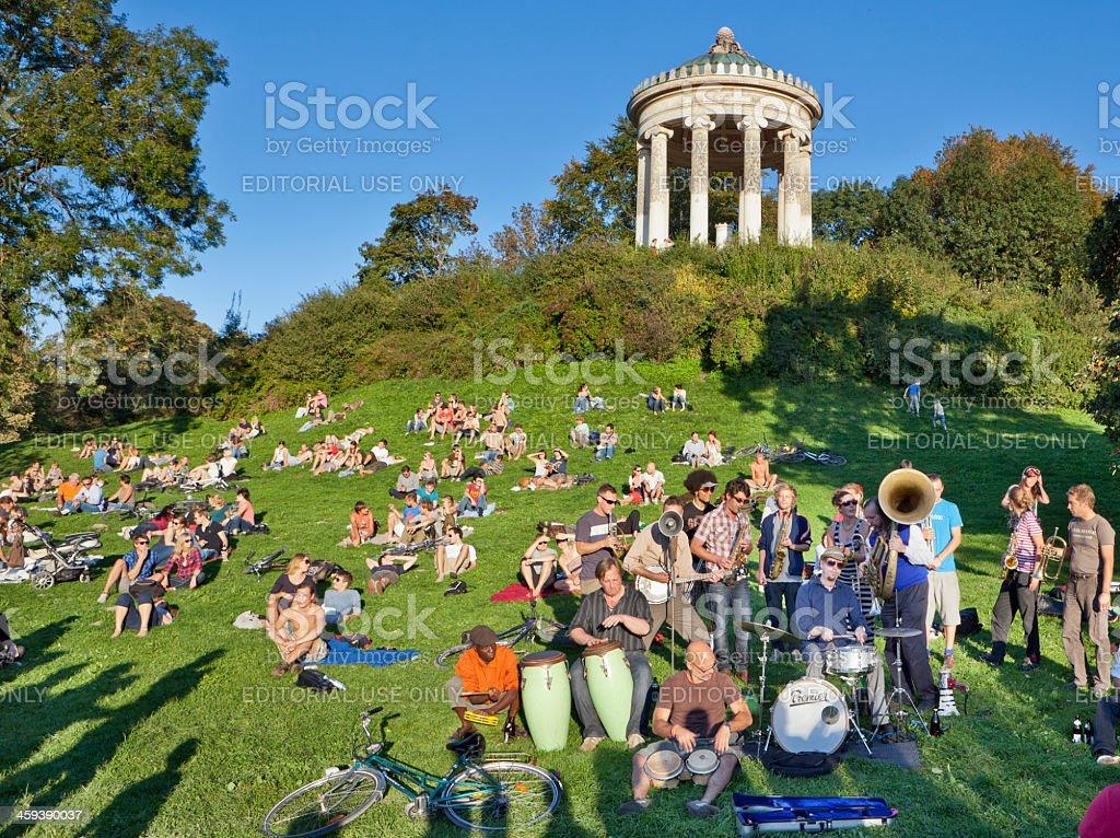Band playing in the English Garden, Munich stock photo